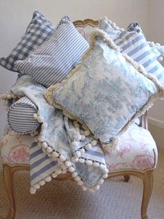 .bringing country french to the beach...love these pillows/colors...