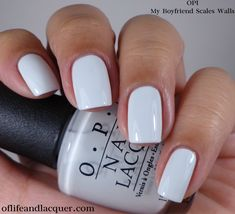 Color blue OPI My Boyfriend Scales Walls Love this light grey and blue nail color for summer! White Nail Polish, White Nails, Opi Nails, Nail Manicure, Gorgeous Nails, Pretty Nails, Pretty Nail Colors, Light Blue Nails, Light Blue Nail Polish