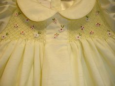 New boutique design hand embroidered smocked dress - Size  3  4  5  6  7  8  9  Yellow