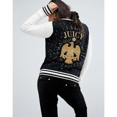 Juicy Couture Varsity Jacket With Eagle (£300) ❤ liked on Polyvore featuring outerwear, jackets, black, zipper leather jacket, college jacket, varsity jacket, teddy jacket and varsity bomber jacket