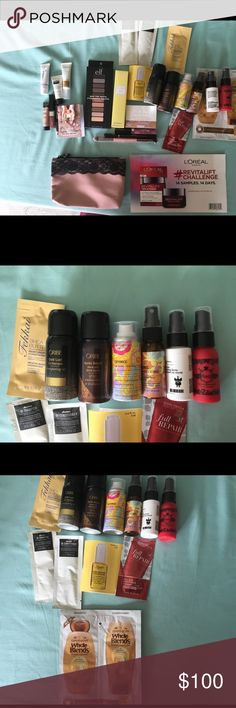 Huge Lot 21 cosmetic samples 5 full size much more Lot of 21 cosmetic & haircare samples, 5 full sized items, 1 Luxie brush & 1 cute Ipsy makeup bag/case. Brands are e.l.f., Vera Bradley, Pacifica, Oribe, davina, Amika & a 14 day trial of L'Oréal revitalift. 26 cosmetic & hair products in all, the brush & the adorable bag. There's makeup, moisturizer, shampoo, conditioner, perfume, liquid lipstick etc... it's all here. High end items to try before you spend a lot of money on full sized…
