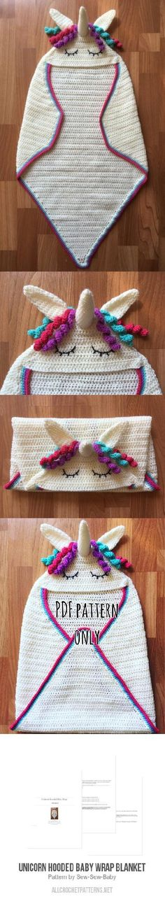 Unicorn Hooded Baby Wrap Blanket crochet pattern