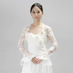 Personalized Long Sleeve Lace Wedding/Party Wraps With Applique(More Colors) – USD $ 39.99
