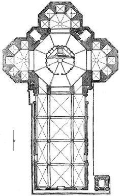Plan, Florence Cathedral. Facade begun 1296, nave and choir 1357-15th century. #architecture #cathedral