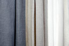 Affordable Luxury (Drapery) For The Home :: Barn & Willow- a sampling of their Belgian drapery. Drapery, Curtains, Pelmets, Window Dressings, Barn, Pure Products, Living Room, Luxury, Color