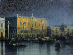 Artist: Ivan Aivazovsky Completion Date: 1878 Palace rains in Venice by moonlight