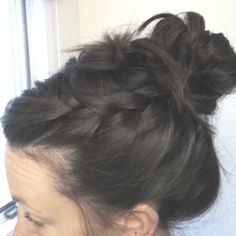 A cute quick up-do with braids.