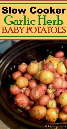 Slow Cooker Garlic-Herb Baby Potatoes Recipe | whatscookingamerica.net | #garlic #potatoes #slowcooker #crockpot #thanksgiving
