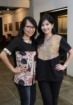 kombinasi hitam + batik Blouse Batik, Batik Dress, Blouse Dress, Mode Batik, Big Size Fashion, Batik Kebaya, Kebaya Muslim, Sewing Blouses, Casual Outfits
