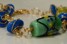Bright Summer Day Wire Wrapped Glass Bracelet by ksyardbird, $16.00