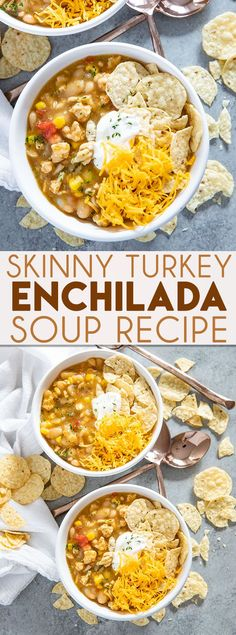 Skinny Turkey Enchilada Soup is an easy and flavorful soup that's packed full of flavor! This simple, healthy, soup is a great way to use ground turkey! soup Skinny Enchilada Turkey Soup - The Salty Marshmallow Skinny Enchiladas, Ground Turkey Soup, Ground Beef, Healthy Ground Turkey Dinner, Recipes With Ground Turkey, Ground Turkey Enchiladas, Ground Turkey Dinners, Turkey Stew, Burgers