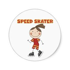 Girl Speed Skater Tshirts and Gifts Sticker
