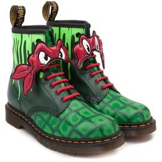 Dr. Martens Teenage Mutant Ninja Turtles Raphael Boot ($99) ❤ liked on Polyvore featuring shoes, boots, welted shoes, reptile boots, leather upper boots, air cushion shoes and dr. martens