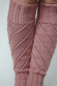 Spiral lace legwarmers - knitting pattern.  Fitted and not slouchy, so they'll be great under pants or with boots.