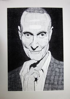 JB and RS (Section 3) This image of pop artist Roy Lichtenstein demonstrates hatching and cross-hatching. The use of shading creates the definition in the cheek bones and gives texture to the blazer.