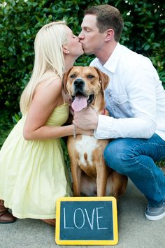 """Including Dog in Engagement Pictures- I'd do this, but since we have two dogs it would read """"True Love""""."""