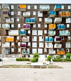apartment complex for elderly people WoZoCo, Amsterdam, the Netherlands by MVRDV / Colour Balcony / building wood facade / Cantilever Architecture, Floating Architecture, Amazing Architecture, Contemporary Architecture, Interior Architecture, Interior And Exterior, Habitat Collectif, Social Housing, Facade Design