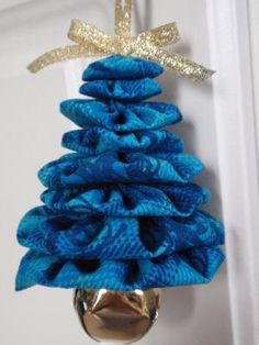 Shades of Blue Plaid Print Jingle Bell Yo Yo Christmas Tree Ornament by connie.k.bethea