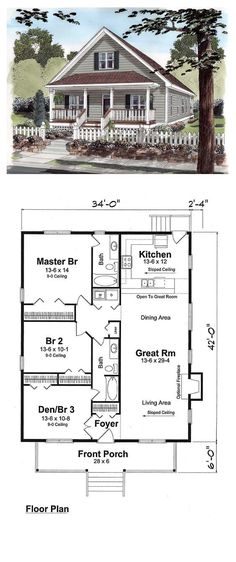 Cottage Style COOL House Plan ID Total Living Area 1428 sq ft 3 bedrooms 2 bathrooms Villa Plan, Cottage House Plans, Cottage Homes, Craftsman Cottage, Tiny Cottage Floor Plans, Bungalow Floor Plans, Craftsman Kitchen, Craftsman Bungalows, Craftsman Style