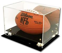 Deluxe UV Acrylic Full Size Football Display Case with Mirror by Generic. $27.45. Deluxe Acrylic Football Display features a black base with gold risers, clear cover, and a mirrored back. Acrylic displays contain U.V. absorbers to help protect your memorabilia from ultraviolet yellowing.