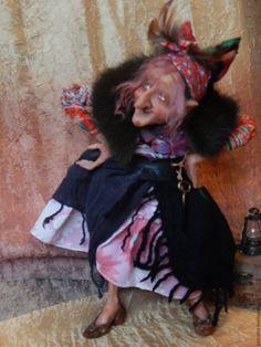 Купить ЯГА-КОКЕТКА - комбинированный, баба яга, сказочный персонаж, авторская работа, авторская кукла
