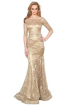 Gold Lace 3 4 Sleeve Mermaid Gown Teri Jon http   www. 4b789449c4dc