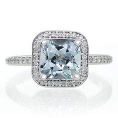 14K White Gold Cushion Cut Aquamarine Diamond Halo Engagement Ring i love this one.. my favorite