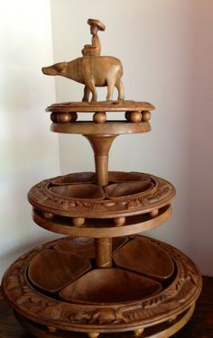 Vintage 1950's Monkey Pod or Teak Wood Lazy Susan, brought one similar to this one from the Philippines Islands.