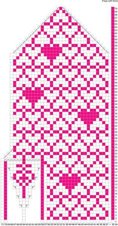 Mitaines Freja been. Knitted Mittens Pattern, Crochet Mittens, Knitted Gloves, Knitting Charts, Knitting Stitches, Knitting Patterns, Graph Paper Art, Cross Stitch Heart, Fair Isle Knitting