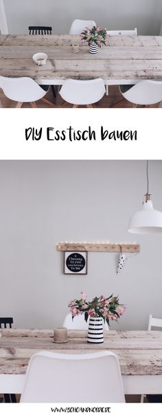 DIY Esstisch selber bauen Build your own dining table – DIY furniture and living. Furniture Makeover, Home Furniture, Furniture Design, Dining Furniture, Wooden Furniture, Diy Esstisch, Esstisch Design, Diy Home Decor, Room Decor