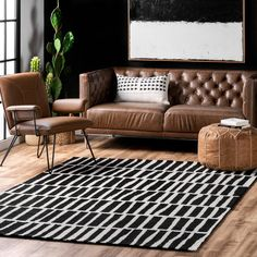 Theria Irregular Parallel Bars Black Rug Black Rug, White Rug, White Area Rug, Living Room White, Rugs In Living Room, Rugs Usa, Buy Rugs, Hand Tufted Rugs, Contemporary Rugs