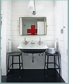 OOOOOOHMYGOD. Perfect sink! The Kohler Brockway double sink with Chicago faucets and toothbrush holder attachment (!!!)