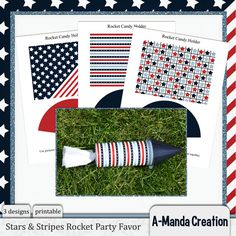 Stars & Stripes Print & Cut Rocket Craft with cutting files for silhouette cameo and other cutting machines. A really cute party favor for patriotic holidays!