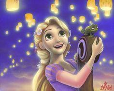 """Seeing the Light"" by James C. Mulligan - Original Acrylic on Board, 16 x 20.  #Disney #DisneyFineArt #Tangled #Rapunzel #JamesCMulligan"