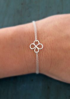 Sterling Silver Four Leaf Clover Bracelet bridesmaid gifts Irish Wedding Gifts Good Luck Charm via Etsy