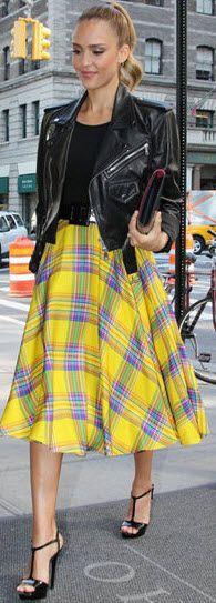 Fun yellow plaid full skirt ... New York street style