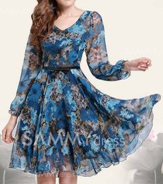 ** $18.99 Floral Print Retro Style Puff Sleeve Chiffon Slimming Dress For Women