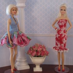 Barbie doll dresses hand stitched from vintage hankies