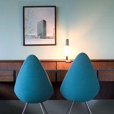 Room 606 of Blu Royal Hotel, Copenhagen features the original Arne Jacobsen decor from the 1960s