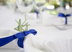 royal blue napkin ribbon-tie kazoo on napkin (silver kazoo on blue napkin)