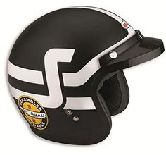 Ducati Scrambler Short Track Open Face Helmet by Bell Black & White X-Large. Official Ducati Product. OEM Part Number: 981030826. Material: composite fiberglass. Rating: DOT Certified. 5-snap integration on the outer shell for the peak (included).