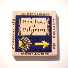 Camino de Santiago Way of St. James Pilgrim Fridge Magnet Tile by SpanishDoor on Etsy