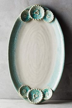 Primavera Platter - anthropologiecom See More. Hand Built Pottery, Slab Pottery, Pottery Bowls, Ceramic Pottery, Ceramic Art, Ceramic Plates, Pottery Painting Designs, Pottery Designs, Pottery Ideas