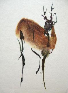 """Eyes of the Devil"" Sumi-e brush painting: ""Antelope"""