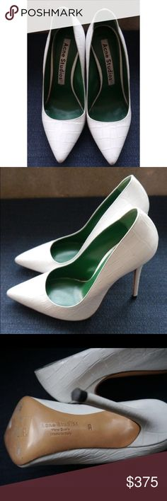 Acne Studios - Alivia Crocodile-Effect Pumps - sz8 Acne Studios - white leather moc croc high heel shoes with green lining / Made in Italy  Euro Size 38 Worn once for photo shoot and are in excellent condition. Please see pictures for general overview of condition Acne Shoes Heels