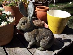 "Vintage Cement Rabbit Garden Statue 13"" Height 22 lbs. Textured Bunny Concrete"