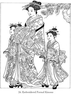 Childhood Education: Japanese Kimono Coloring Pictures - News - Bubblews