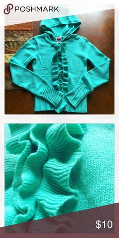 ✳️ Ruffled hoodie Super cute, teal ruffled hoodie! Love this! Size XS. All my items are sold AS IS. Please remember that it is used unless otherwise stated. Tops
