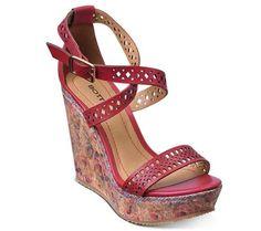 Sandália anabela com salto estampado | Sandálias | Bottero Calçados