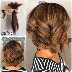Cutt all her hair off into a short sassy Aline bob with Carmel highlights…